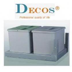 Koš na odpadky,  2  přihrádky s  DOTAHEM šíře 400 mm